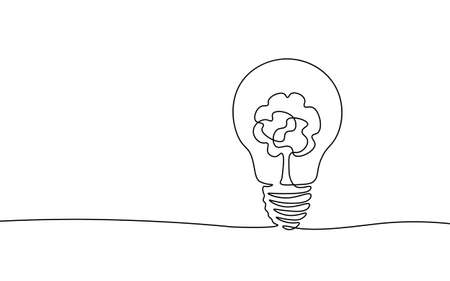 Single continuous line art ecology solution idea. Eco organic creative bulb symbol. Design one stroke sketch outline drawing vector illustration art