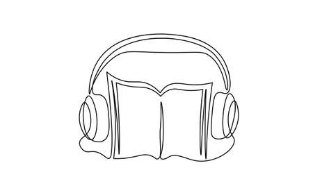 Single continuous line art audiobook education. Learning listen apps master headphones graduate online. Design one stroke sketch outline drawing vector illustration art