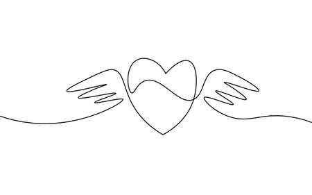 Heart with wings single continuous line art. Romantic love date relationship couple silhouette concept design one sketch outline drawing white vector illustration Ilustrace