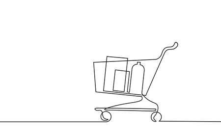 Single continuous line art shopping cart . Test system strategy concept. Online shop trade market. Buy now banner template. Design one stroke sketch outline drawing vector illustration
