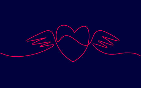 Heart with wings single continuous line art. Romantic love date relationship couple silhouette concept design one sketch outline drawing dark vector illustration