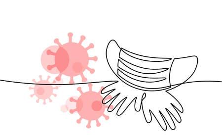 Continuous one single line art safety mask concept. Pandemic safe hand drawn sketch. Gloves mask epidemia pneumonia allergy white monochrome vector illustration Ilustración de vector