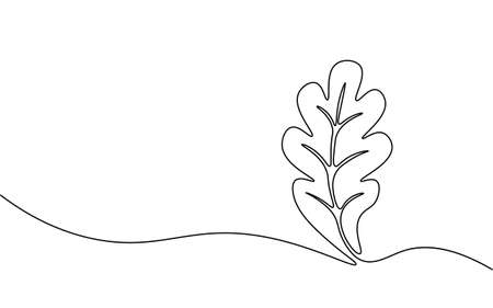 Single continuous line art growing oak sprout. Plant leaves oak-tree grow soil eco natural farm concept design. One sketch outline drawing vector illustration 矢量图像