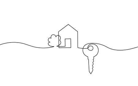 One line seller house door keys. Building quarter residential complex. Hand drawn sketch continuous line. Sell own family customer life business concept vector illustration