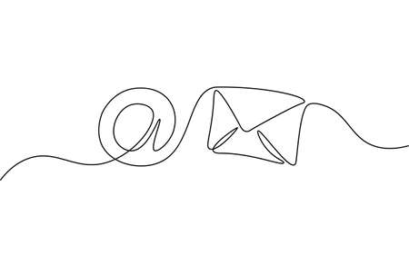 One line paper envelope. Black and white monochrome continuous single line art. Email message post letter send illustration sketch outline drawing