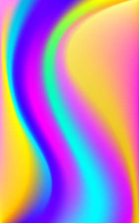 Holographic foil neon color poster. Trendy glitch bright color waves. Blur colorful pattern. Fluid art liquid ink vector illustration