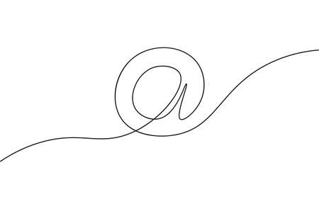 One a at sign social media notification. Black and white monochrome continuous single line art. Email message account profile send illustration sketch outline drawing