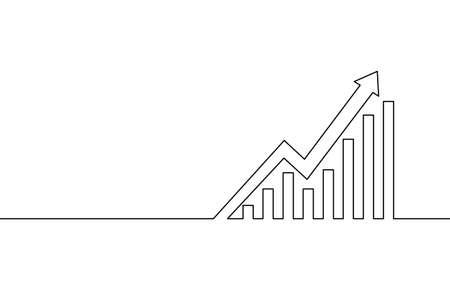 Single continuous line art arrows up. Growing profit graph economy finance concept design. One sketch outline drawing vector illustration Vectores