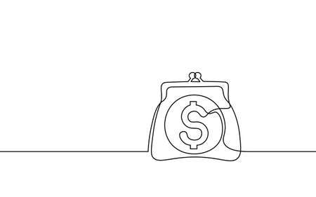 One line money wallet. Online market trade concept. Hand drawn sketch continuous line. E-commerce finance banking profit system icon vector illustration Vectores
