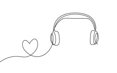 Single continuous line art music library like. Learning listen apps master headphones graduate online. Design one stroke sketch outline drawing vector illustration art