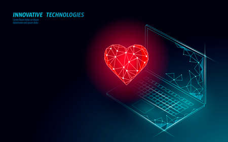 Internet dating app concept. 3D low poly laptop romantic relationship symbol heart. Social media love date find couple service. Website romantic message vector illustration