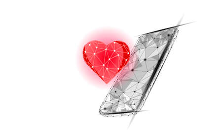 Internet dating app concept. 3D low poly smartphone romantic relationship symbol heart. Social media love date find couple service. Website romantic message vector illustration