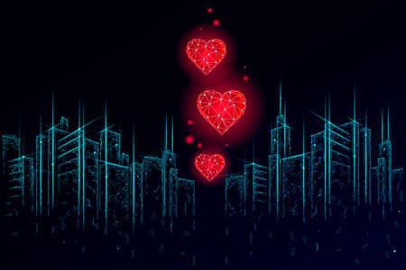 Internet dating app concept. 3D low poly cityscape skyscraper relationship symbol heart. Social media love date find couple service. Website romantic message vector illustration
