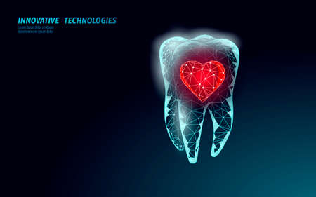 Low poly tooth protection medical concept. Whitening toothpaste enamel reconstruction healthcare. Polygonal healthy dentistry procedure glowing heart vector illustration