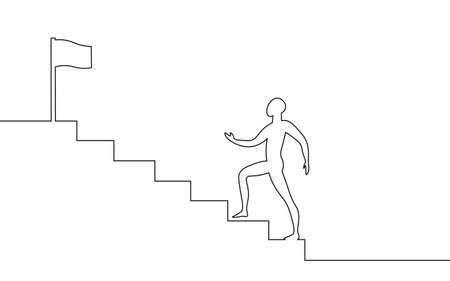 One line art man step up stairs. Road to success teamwork career progress. Continuous line job aim leader challenge concept vector illustration Illusztráció