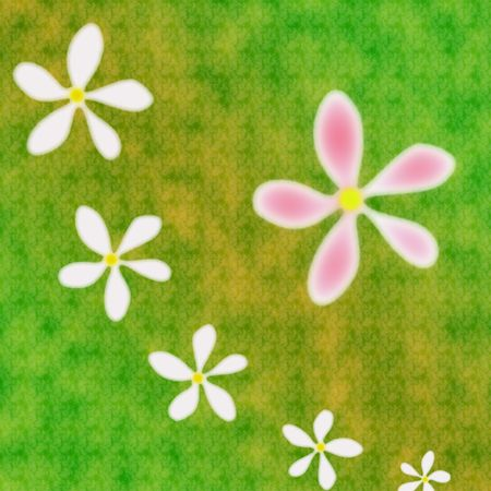 Six flowes on the abstract green background Stock Photo - 4609312