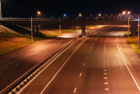 Night road, line, the bridge, lanterns Stock Photo - 4976754
