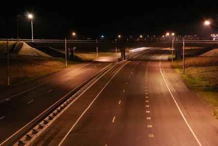Night road, line, the bridge, lanterns photo