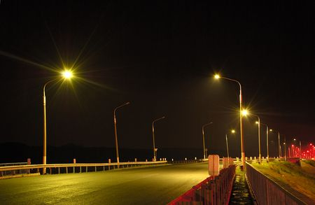 Night road, line, the bridge, lanterns Stock Photo - 4976543