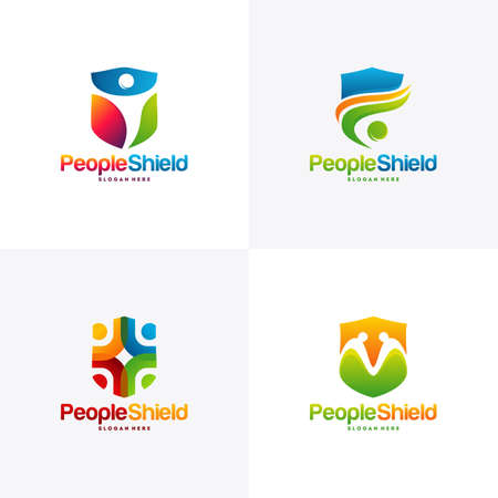 Set of People Shield logo designs concept vector, Modern People care logo template Vectores