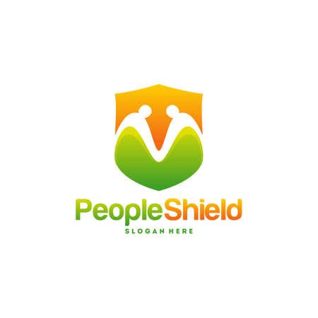 People Shield logo designs concept vector, Modern People care logo template Vectores