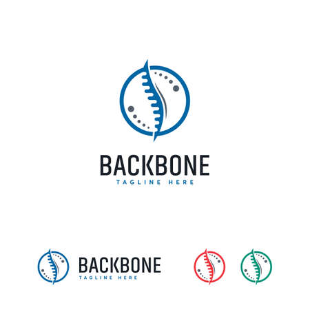Backbone logo designs symbol, Iconic Backbone Care logo template vector
