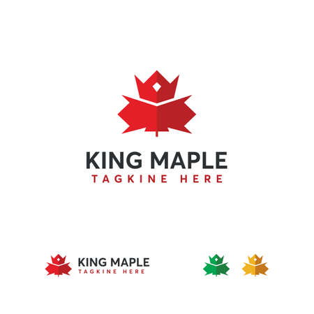 King Maple logo designs concept vector, Canadian leaf logo, Canadian King logo template Ilustração