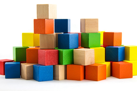 Colorful wooden blocks Arranged by the imagination. 스톡 콘텐츠
