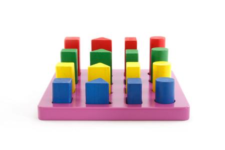 Colorful wooden blocks on wooden purple. Standard-Bild