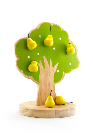 woody: Fruit tree toys with magnets to stick to fruit. Stock Photo