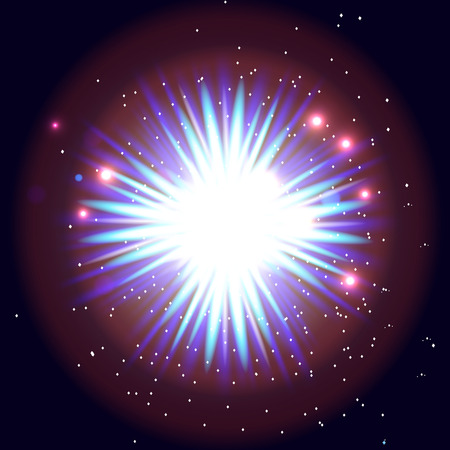 vector illustration of an explosion. Colorful and bright open space. stars, cosmic objects.