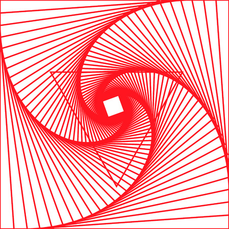 Abstract red spiral vector background. Computer generated image of twisting lines on white background. Illustration