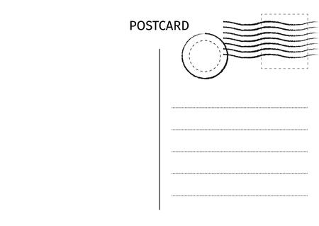 Postkarte. Postkartenillustration für Design. Design der Reisekarte. Postkarte isoliert auf weißem Hintergrund. Vektor-Illustration.