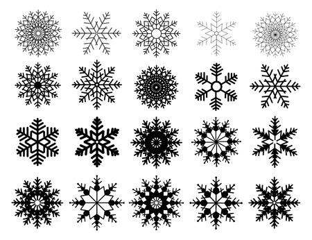 Winter set of black snowflakes isolated on white background. Snowflake icons. Snowflakes collection for design Christmas and New Year banner and cards. Vector illustration.