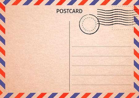 Postcard. Air Mail. Postal card illustration for your design. Travel card design. Vintage Postcard. Old paper texture. Vector illustration.