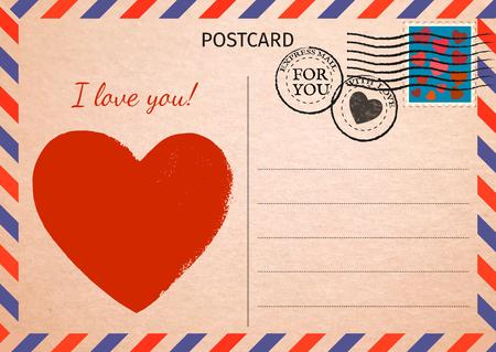 Postkarte. Rotes Herz und Worte Ich liebe dich. Luftpost. Postkartenillustration für Ihr Design. Vintage-Postkarte. Alte Papierstruktur. Vektor-Illustration.