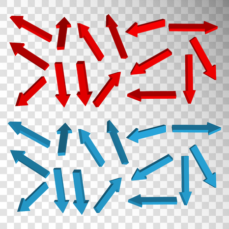 Set of red and blue arrows on transparent backround. Vector elements.
