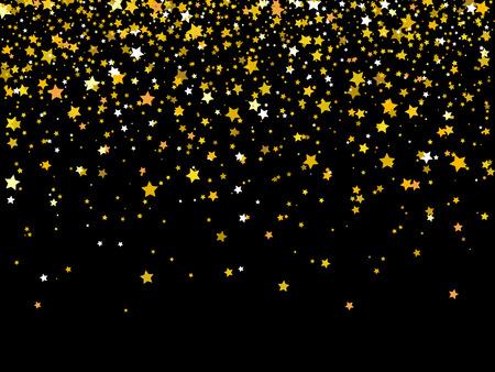 Vector Illustration of Falling golden stars on dark background. Golden Stars Confetti. Christmas, New Year celebration holiday background.