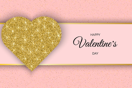 Valentine Day greeting card. Festive Card for Happy Valentine s Day. Pink Background with golden Heart and glitter.