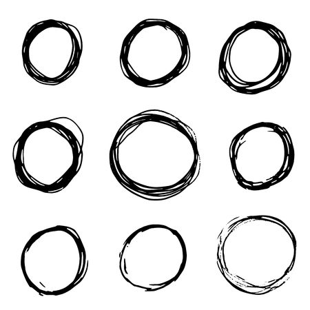 Set of Hand Drawn Scribble Circles. Grunge circle set. Round Frames, grunge textured hand drawn elements for design.