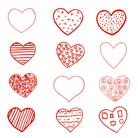 Set of Red hand drawn hearts on white background. Design element for Valentine s day. Print for poster, t-shirt, bags, postcard, sweatshirt, flyer.