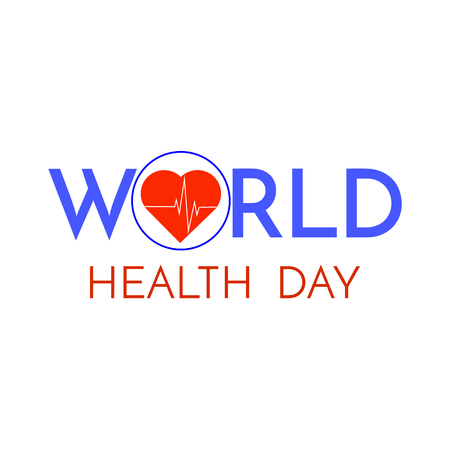 World Health Day phrase isolated on white background.