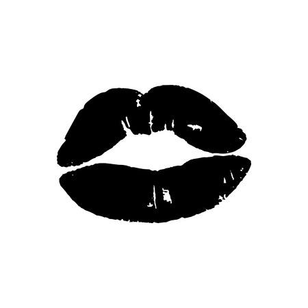 Black lips girl silhouette isolated on white background. Vector image of lips.
