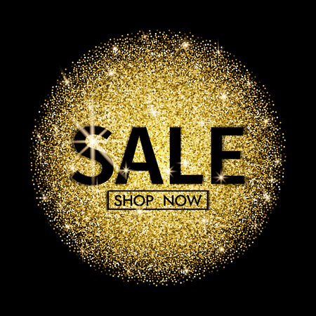 Sale banner. Sale Poster with gold Glitter on Dark Background. Shop now.