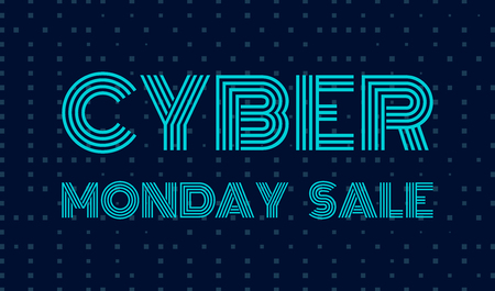 Cyber Monday Sale banner template. Dark background with blue text Cyber Monday Sale. Vector illustration. Illustration