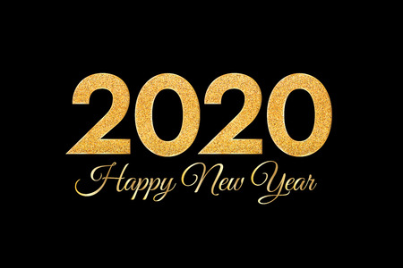 2020 Happy New Year. Golden numbers on black background. New Year 2020 greeting card. Vector illustration.