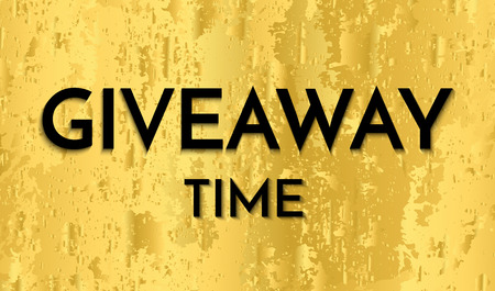 Time for a giveaway - banner template. Giveaway Time phrase on gold background.