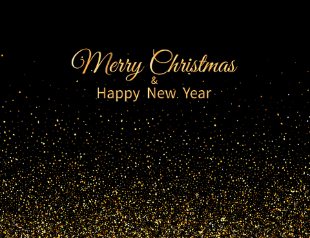Merry Christmas and Happy New Year. Golden glitter and text on dark background. New Year greeting card. Vector illustration. Stock Illustratie
