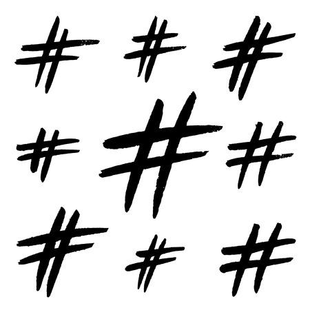 Signes de hashtag dessinés à la main isolés sur fond blanc. Signe de communication grunge à la mode pour logo, blog, réseau social, application internet. Signes de hashtag noirs. Illustration vectorielle.