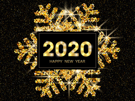 2020 Happy New Year greeting card. Gold snowflake and glitter on dark background. 2020 Happy New Year text. Vector Illustration.